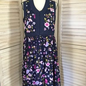 Navy Floral Morning Glory Spring Midi Dress 12 NWT
